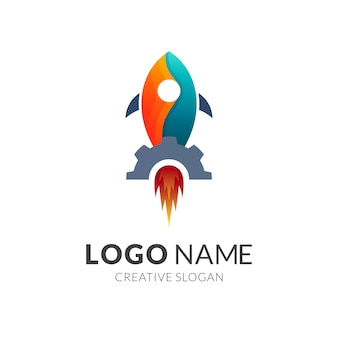Conceito de logotipo de foguete + engrenagem