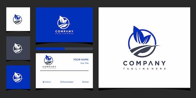 Conceito de logotipo de folha criativa e vetor premium de cartão de visita