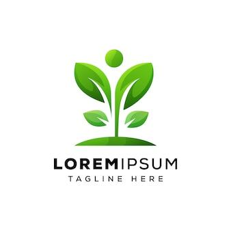 Conceito de logotipo de folha humana vetor premium