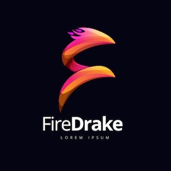 Conceito de logotipo de forma de fogo de dragão