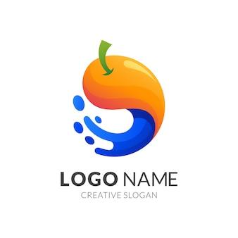 Conceito de logotipo de frutas e água, logotipo moderno em gradiente de cores vibrantes