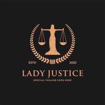Conceito de logotipo de lei de mulher / senhora.