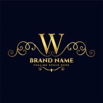 Conceito de logotipo de luxo dourado vintage real da letra w