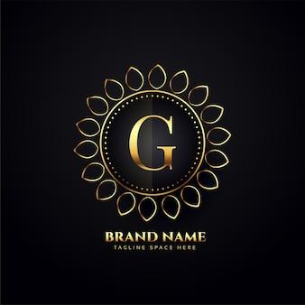 Conceito de logotipo de luxo ornamental para a letra g