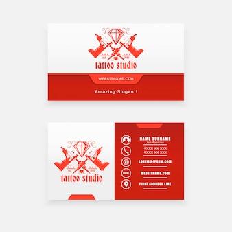 Conceito de logotipo de máquina de tatuagem, salão de tatuagem de cartão de visita