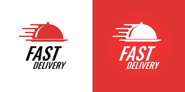 Conceito de logotipo de marca de entrega rápida de comida para empresa de serviço de catering para restaurantes. ilustração isolada do logotipo do café expresso do café da logística