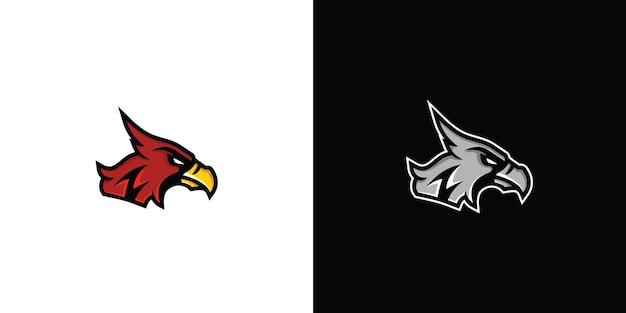 Conceito de logotipo de mascote animal cabeça de águia desportiva ilustração vetorial