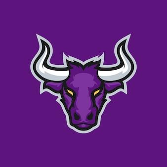 Conceito de logotipo de mascote bull