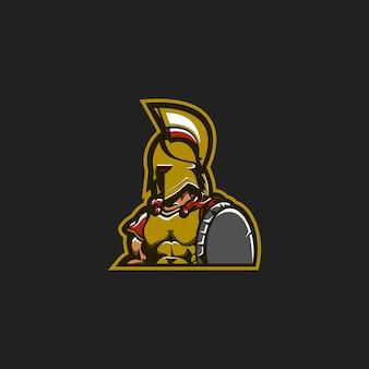 Conceito de logotipo de mascote espartano