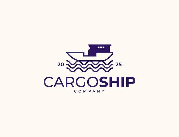 Conceito de logotipo de navio de carga e mar para transporte industrial