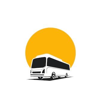 Conceito de logotipo de ônibus, ônibus de silhueta