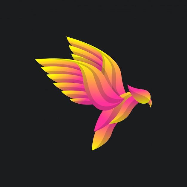 Conceito de logotipo de pássaro com estilo colorido gradiente, design moderno e elegante