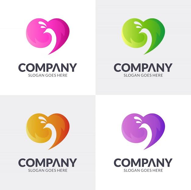 Conceito de logotipo de pavão de amor