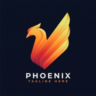Conceito de logotipo de phoenix de luxo
