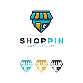 Conceito de logotipo de pin de loja.
