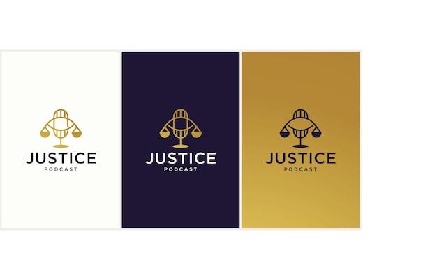 Conceito de logotipo de podcast jurídico, adequado para eventos jurídicos e discussões jurídicas, imagem de design de logotipo de escritório de advocacia de podcast jurídico, consultor de podcast.