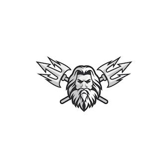 Conceito de logotipo de poseidon