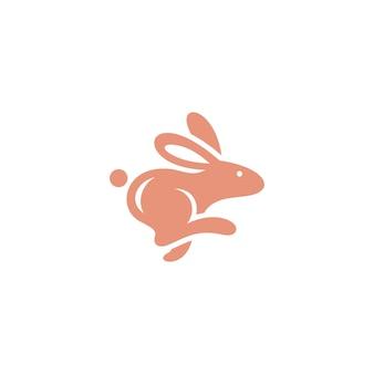 Conceito de logotipo de silhueta de ícone de coelho saltando abstrato