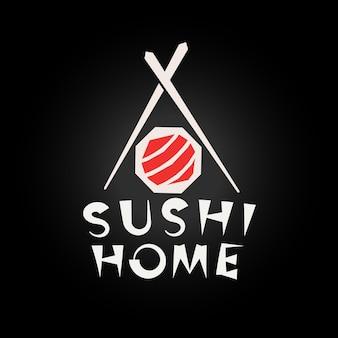 Conceito de logotipo de sushi comida japonesa restaurante logotipo modelo simples estilo de desenho geométrico isolado