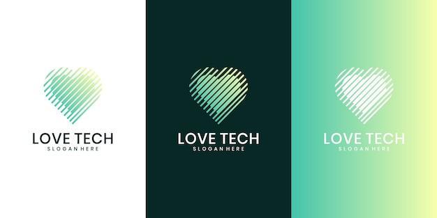 Conceito de logotipo de tecnologia do coração