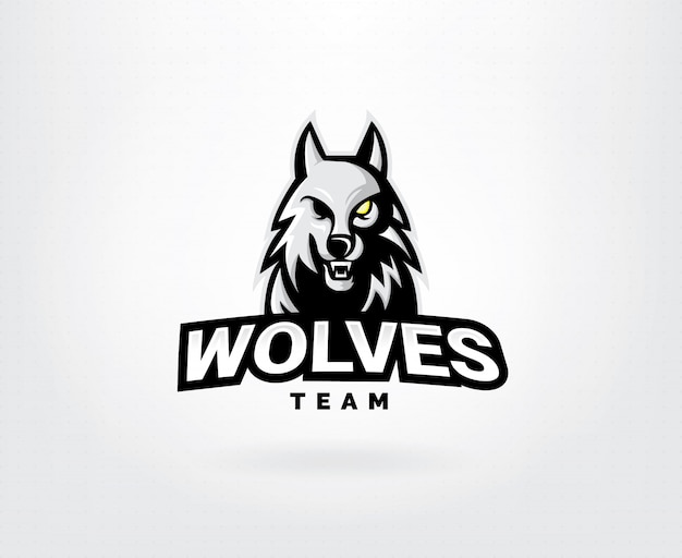 Conceito de logotipo de vetor de cabeça de lobo