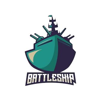 Conceito de logotipo de vetor de equipe de navio de guerra isolado no fundo branco
