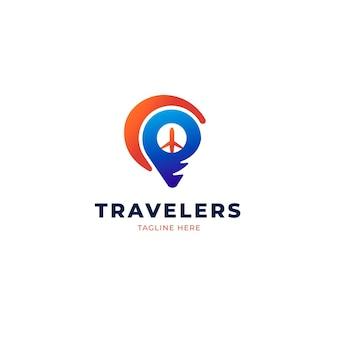Conceito de logotipo de viagem detalhada