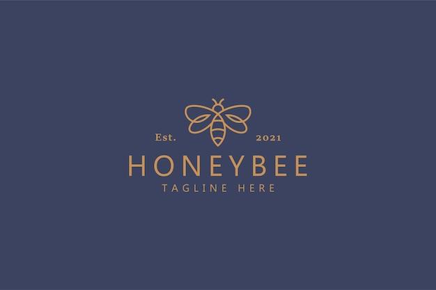 Conceito de logotipo honey bee sweet simple line