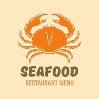Conceito de logotipo isolado de menu de restaurante de frutos do mar caranguejo com texto de exemplo