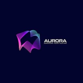 Conceito de logotipo moderno de gradiente colorido aurora