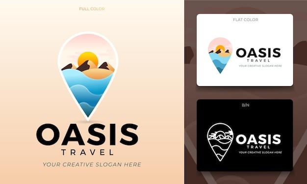 Conceito de logotipo para agência de viagens com um oásis e um deserto em vetor editável