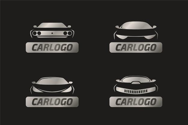 Conceito de logotipo realista carro metálico