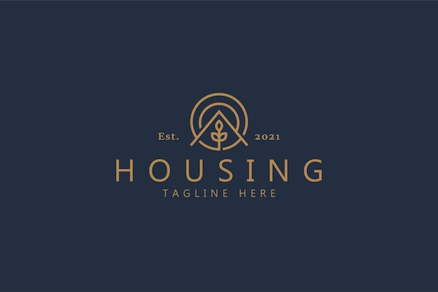 Conceito de logotipo simples planta natural de casa. marca do logotipo do modelo do emblema do círculo para empresa e produto.