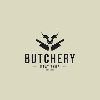 Conceito de logotipo vintage de açougue