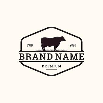 Conceito de logotipo vintage de gado