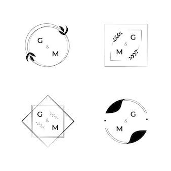 Conceito de logotipos de casamento elegante