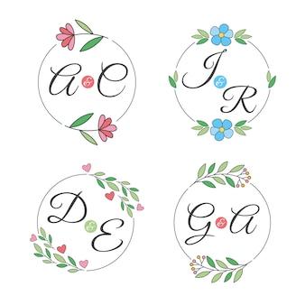 Conceito de logotipos de monogramas de casamento colorido