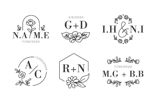 Conceito de logotipos de monogramas de casamento floral