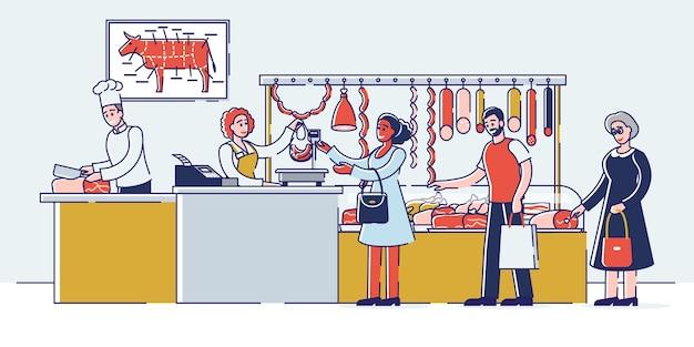 Conceito de loja de açougue. as pessoas estão escolhendo e comprando carne e produtos derivados.