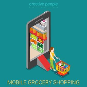 Conceito de loja on-line de compras de supermercado móvel. mulher com carrinho de compras deixa a loja dentro do smartphone isométrico.