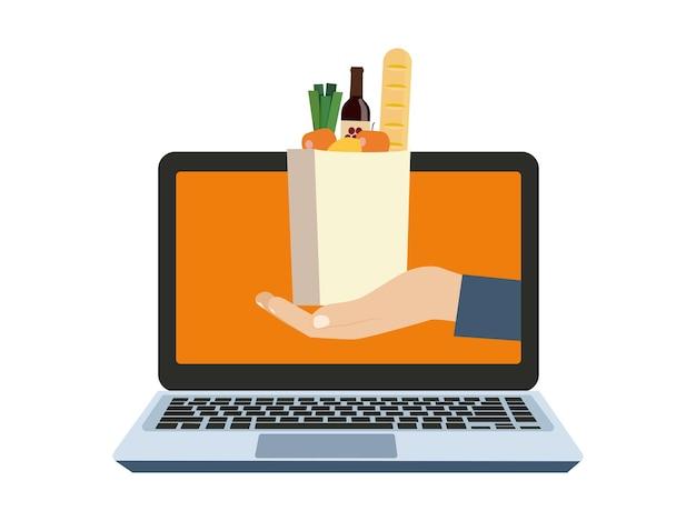 Conceito de loja online. computador e mão segurando a sacola de comida. ilustração vetorial.