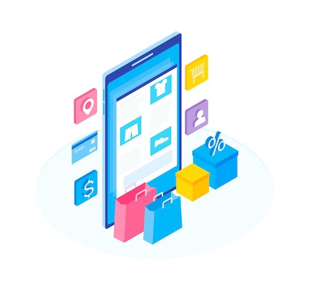 Conceito de loja online. configure a loja online de funções.