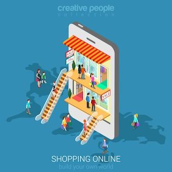 Conceito de loja online de comércio eletrônico de compras móvel. as pessoas andam no shopping dentro de smartphone isométrico.