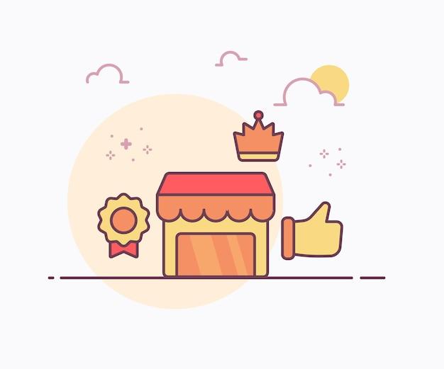 Conceito de loja premium distintivo coroa mão como ícone com cor suave estilo de linha sólida ilustração vetorial