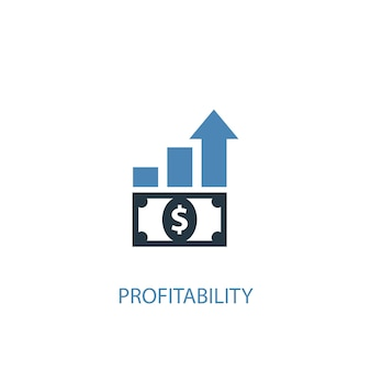 Conceito de lucratividade 2 ícone colorido. ilustração do elemento azul simples. projeto de símbolo do conceito de lucratividade. pode ser usado para ui / ux da web e móvel