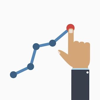 Conceito de lucro e ganho a mão do empresário gerencia o gráfico de negócios em crescimento