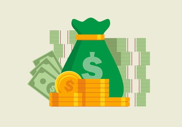 Conceito de lucro e ganho monetário ilustração vetorial plana banner e página de destino