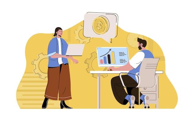 Conceito de lucro máximo, homem e mulher ganham dinheiro e aumentam a renda Vetor Premium