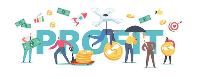 Conceito de lucro. poupança de dinheiro de pessoas, investimento, crescimento financeiro. minúsculos personagens de negócios coletam enormes moedas ou notas, pôster de riqueza financeira, faixas ou panfletos. ilustração em vetor desenho animado