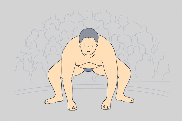 Conceito de luta de luta livre preparação esporte competição obesidade japão